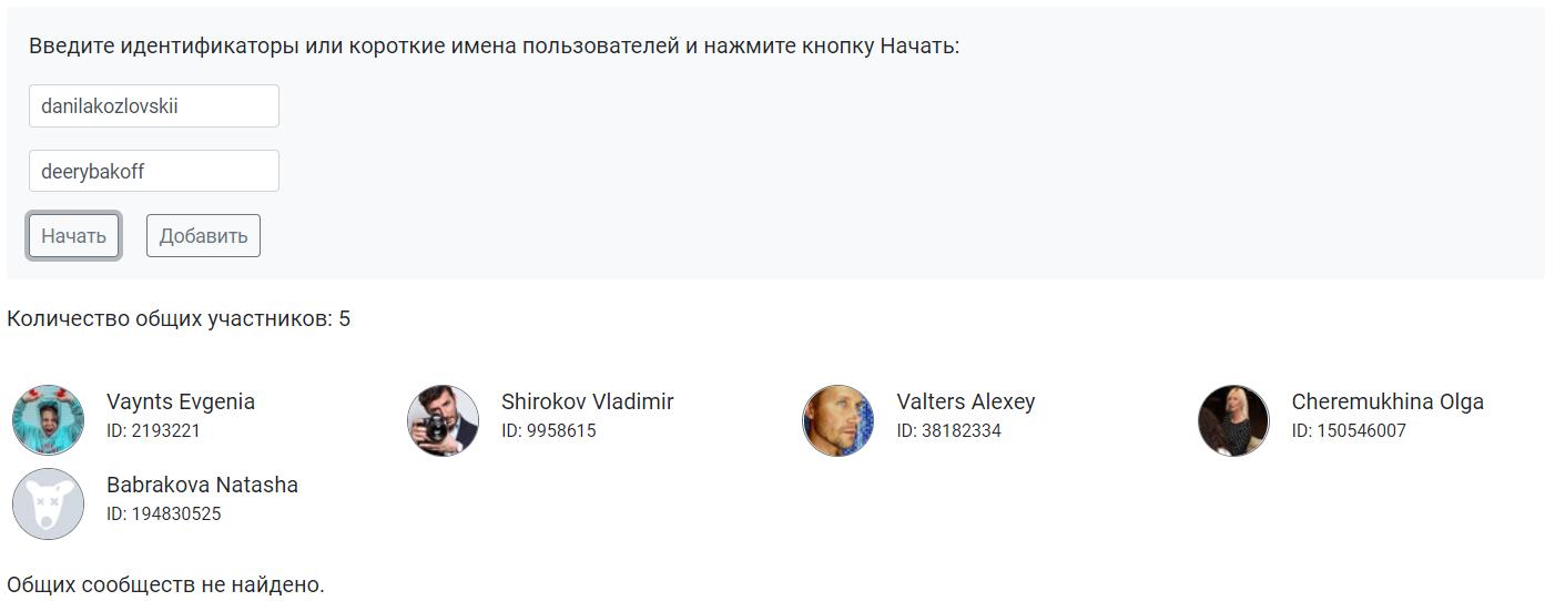 Общие друзья двух пользователей ВКонтакте